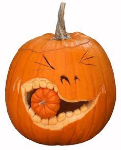 Pumpkin Eating Small Pumpkin