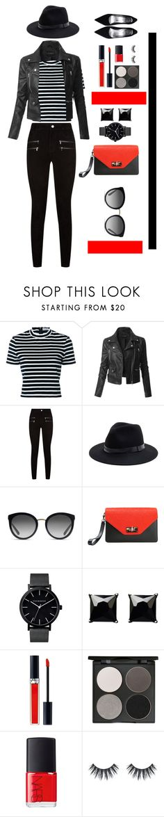 """Red and black leather jacket fashion"" by quenault-ei ❤ liked on Polyvore featuring T By Alexander Wang, LE3NO, Paige Denim, Sole Society, Dolce&Gabbana, Givenchy, Witchery, Christian Dior, Gorgeous Cosmetics and NARS Cosmetics"