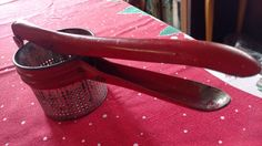 Antique Vintage Metal POTATO RICER Red Handle Primitive