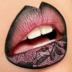 Gorgeous pink & black lace lip art by chassy dimitra ♡ ♥ ♡ ♥ ♡ ♥ Lipstick Art, Lipstick Queen, Nice Lips, Make Up Art, Kissable Lips, Portraits, Pose Portrait, Lip Designs, Lipstick Designs