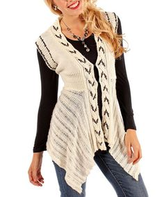 Take a look at this Cream Cable Knit Embellished Vest - Women & Plus by Aster on #zulily today! $20 !!