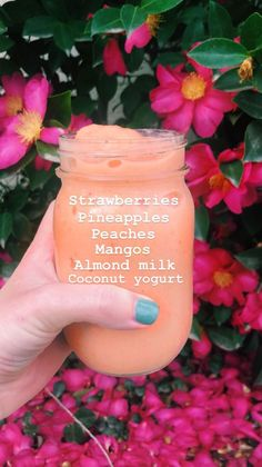 Pineapple strawberries peaches mangos almond milk coconut