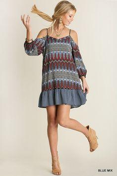Cold Shoulder Print Dress - Blue Mix