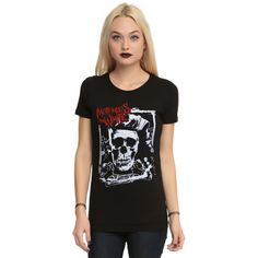 Hot Topic Motionless In White Rockabilly Skull Girls T-Shirt ($22) ❤ liked on Polyvore featuring plus size women's fashion, plus size clothing, plus size tops, plus size t-shirts, band tees, rockabilly t shirts, white t shirt, hot topic tee, white tee and fitted tops
