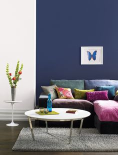 Bold on trend shades designed to complement Crown Paints Standard Emulsion. Shown here in Midnight Navy by Crown Paints. Navy Living Rooms, Home And Living, Living Room Decor, Living Spaces, Bedroom Decor, Navy Paint Colors, Grey Paint, Feature Wall Bedroom, Feature Walls