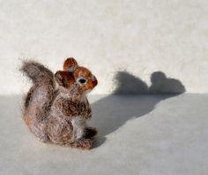 Needle felted squirrel by RuthCreates on Etsy, $25.00