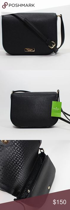 """NWT Kate Spade Black Crossbody purse NWT KATE SPADE LAUREL WAY CARSEN CROSSBODY BAG IN BLACK 100% AUTHENTIC    SIZE 5''h x 7""""w x 2.5""""d w/ 18""""-20"""" adjustable crossbody strap  MATERIAL Cross hatched texture Leather w/ matching trim 14-karat light gold plated hardware Custom woven ksny jacquard lining  DETAILS Manetic flap closure crossbody bag Inside: open slit pocket & 1 slip pocket on side front  style # wkru4091 / retail $179.00 kate spade Bags Crossbody Bags"""