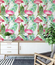 Flamingos Removable Wallpaper. Palm leaves Wallpaper. Tropical | Etsy