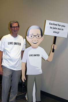 We have created a Flat Ron version of this year's campaign chair Ron Olson. Flat Ron spreads the message of United Way through rotating notes on his board. We are encouraging people to take pictures with Flat Ron wherever they are. In addition, companies can request a standup Flat Ron from us by contacting on our website. Please consider taking a picture with Flat Ron (pictured at right with Ron Olson) and posting it here or to our Facebook wall.