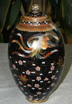Unusual Japanese Cloisonne Enamel Jar.Meiji period.