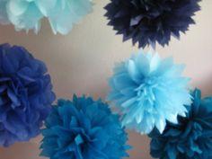 Shades of blue poms.