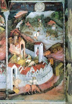 """""""Dicembre"""", Ciclo dei Mesi, fresco of the Torre Aquila, Castello del Buonconsiglio, Trent, Italy, (ca. 1390-1400), by Maestro Venceslao"""