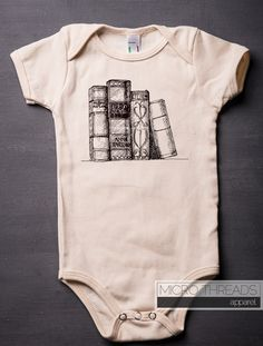 Books - Shelf - Baby Onesie - American Apparel - Organic Cotton - Literature - Screen Printed - Baby Clothes by MicroThreads on Etsy https://www.etsy.com/listing/153014947/books-shelf-baby-onesie-american-apparel
