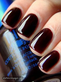 : OPI Black Cherry Chutney and BB Couture Erotic Night Black Cherry Opi, Black Cherry Nail Polish, Opi Black Cherry Chutney, Opi Nail Polish, Opi Nails, Nail Polish Colors, Classy Nails, Trendy Nails, Subtle Nails