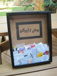 Create a ticket stub memory box. I have a million ticket stubs from going to movies with Jeremie!