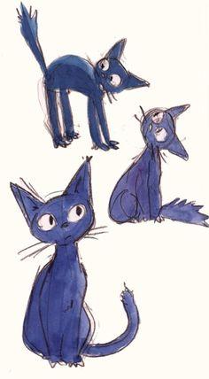 Studio Ghibli: concept art sketch for Kiki& Delivery Service Studio Ghibli, Kiki Delivery, Kiki's Delivery Service, Animation, Illustrations, Illustration Art, Chihiro Y Haku, Animal Gato, Cute Kittens
