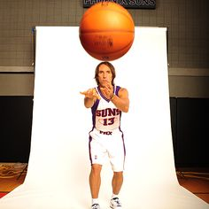 Think fast. Steve Nash poses for photos taken during NBA Media Day 2009-10.