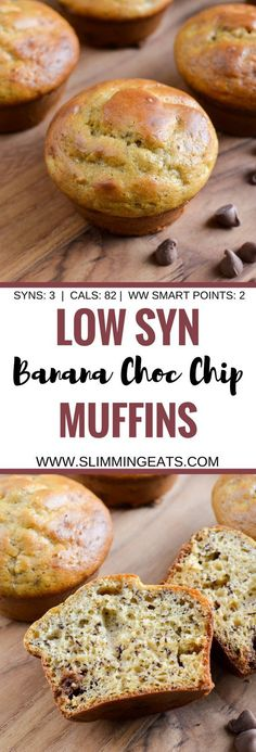 Slimming Eats Low Syn Banana Chocolate Chip Muffins - vegetarian, Slimming World and Weight Watchers friendly