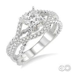 1/3 Ctw Diamond Semi-Mount Ring in 14K White Gold