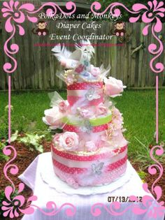 Tea+Party+diaper+cake+by+PolkaDotsdiapercakes+on+Etsy,+$155.00
