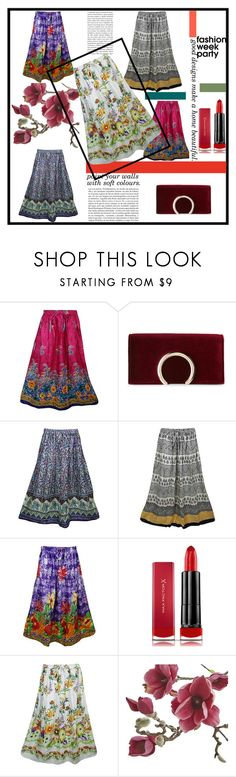 """""""Boho Flirty Festive Tiered Skirts"""" by era-chandok ❤ liked on Polyvore featuring Jessica McClintock, Max Factor, Whiteley, Crate and Barrel and vintage"""