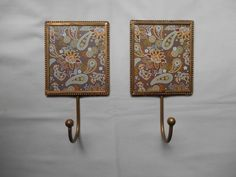 Metal Hangers Hooks Pair Brass Floral Brown Decorative