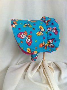 Reversible Easter Bonnet - Pioneer Bonnet - Gardening Bonnet - Sun Hat - Prairie House Bonnet - Butterfly Bonnet by 4PennyGirl on Etsy