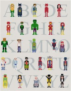 Stitch this superhero-themed alphabet. 23 Ideas For Making The Ultimate Superhero Bedroom Superhero Alphabet, Superhero Room, Alphabet Art, Disney Alphabet, Cross Stitching, Cross Stitch Embroidery, Cross Stitch Patterns, Get Thin, Crochet Motifs