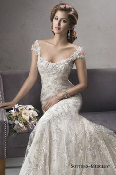 Beaded off the shoulder Sottero and Midgley wedding gown: http://www.stylemepretty.com/2014/10/30/11-beaded-dresses-to-love/