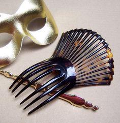 Antique hair comb Victorian mantilla style faux by ElrondsEmporium