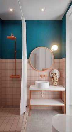 Apartment in Saint Petersburg Bathroom Design Small, Bathroom Interior Design, Restroom Design, Small Bathrooms, Lavabo Vintage, Small Studio Apartment Design, Bathroom Inspiration, Bathroom Ideas, Budget Bathroom