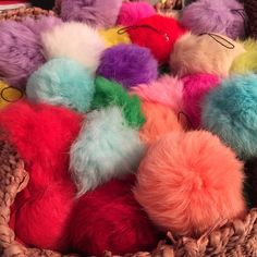 1 Keychain phone cord furry Pom Pom Please ask for your own listing based on color available.   These do not have the key chain but the cord. Can attach to back pack, phone, wristlet.  They are 8 cm rabbit fur. Brand new sold in my boutique. Will combine multiple colors to save money.  Cost $6 each Accessories Key & Card Holders