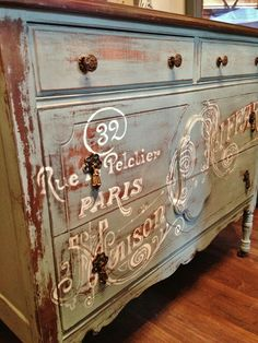 Repurposed Gems: A Little French Dresser To do this, I simple used carbon paper to transfer the image, then painted it with a creamy white chalk paint by hand. Once that was done, I sanded it down again to make the lettering look distressed.