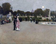 Title: Luxembourg Gardens at Twilight, 1879 Artist: John Singer Sargent Medium: Canvas Art Print - Giclee
