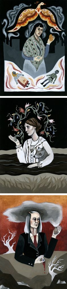 'Literary Witches' illustrated by Katy Horan // painted portraits // book illustration