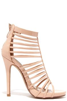 Act Your Cage Nude Patent Caged Heels