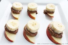 Clean Eating Snack – Apple, Banana and Nut Butter Sandwich. Great afternoon snack kids can make. Healthy Finger Foods, Healthy Appetizers, Healthy Treats, Yummy Snacks, Yummy Food, Kid Snacks, Healthy Food, Snacks List, Lunch Snacks