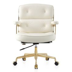 Found it at AllModern - Leather Desk Chair white leather desk chair with gold - Luxury Interior Design Work Chair, Mesh Office Chair, Cheap Dining Room Chairs, Living Room Chairs, Ikea Dining, Accent Chairs Under 100, Upholstery Fabric For Chairs, Used Chairs, Executive Office Chairs