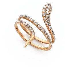 18 Carat Rose Gold and Brilliant Cut Diamond Snake Ring (6 495 PLN) ❤ liked on Polyvore featuring jewelry, rings, twisted band ring, twist rings, rose gold band ring, band rings and diamond twist ring