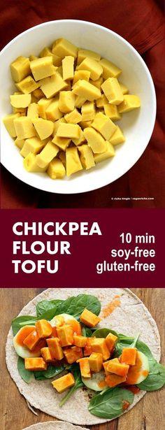 Chickpea flour Tofu. 10 min INGREDIENTS 1 cup chickpea flour/ garbanzo bean flour ( use 1¼ cup besan/ gram flour) ½ to ¾ tsp salt ¼ tsp garlic powder ¼ tsp turmeric (optional, for color) ¼ tsp cumin or garam masala (optional) 1¾ cup water   VeganRicha.com