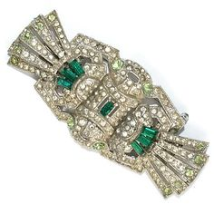 Sold - Deco Style Green Rhinestone Duette Clips Pin Brooch 1930's