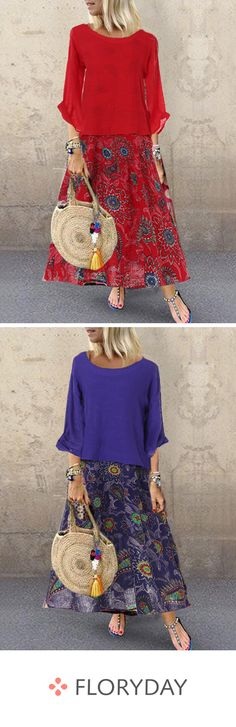 Floral sleeves maxi shift dress, floral style, beautiful, outlook of the day. Cute Outfits With Jeans, Casual Fall Outfits, Classy Outfits, Chic Outfits, Casual Dresses, Leather Leggings Look, French Outfit, Types Of Skirts, Affordable Dresses