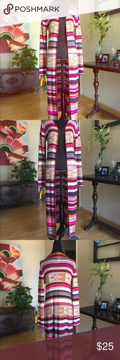 "Billabong Multicolored Long Coverup This sweater is lightweight and looks great with jeans or leggings!  53"" long Sweaters Cardigans"