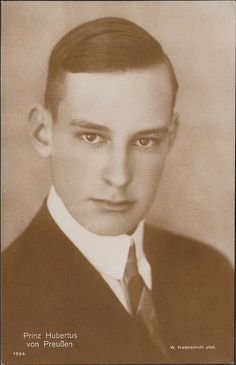 Prince Hubertus of Prussia (1909-1950) was the 3rd son of Wilhelm, the last Crown Prince of Germany. Hubertus joined the army in 1934 and participated in the Invasion of Poland in 1939. One year later he was dismissed from the army by Hitler's orders. He married Baroness Maria von Humboldt-Dachroeden (1916-2003) in 1941. They divorced in 1943. On 5 June of the same year, he married Princess Magdalena Reuß of Köstritz (1920–2009).