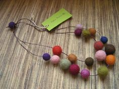 Felted necklace on two strands in autumn colors by KoloBolo, $23.00