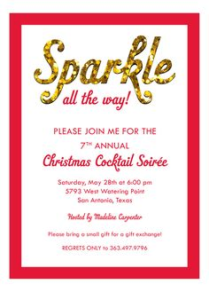 Sparkle All The Way Invitation  #Holiday Party Invitations #Glitter