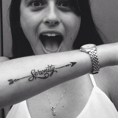arrow tattoo with words