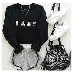 Cute Fashion Outfits for Teens worth Copying - Teen Fashion Outfits, Nike Outfits, Short Outfits, Trendy Outfits, Cute Lazy Day Outfits, Lazy Fashion, Lazy Day Outfits For School, Black Outfits, Latest Fashion