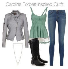 """""""The Vampire Diaries - Caroline Forbes Inspired Outfit"""" by staystronng ❤ liked on Polyvore featuring Twin-Set, J Brand, Timeless, MuuBaa, Luv Aj, leatherjacket, jacket, tvd and carolineforbes"""