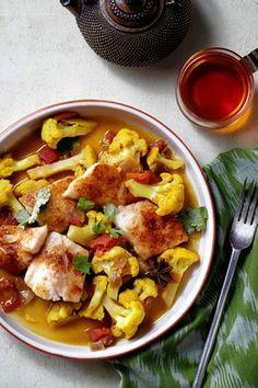 Chef Meeru Dhalwala's Chili-Rubbed Halibut With Cauliflower Curry